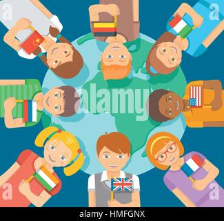 Smiling happy kids of different races around the Earth. Children hold flags of different countries. Childhood friendship - Stock Photo