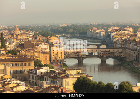 View of the medieval city of Florence with the typical Ponte Vecchio on Arno River from Piazzale Michelangelo, Florence, - Stock Photo