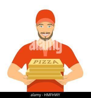 Smiling young attractive African American man courier holding a parcel in a cardboard box. Flat vector illustration. - Stock Photo