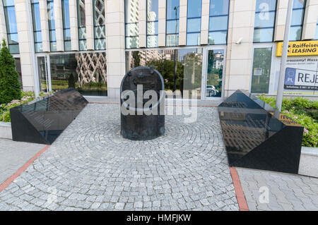 One of the many symbolic monuments relating to the Warsaw Uprising during World War 11 where the Polish resistance - Stock Photo