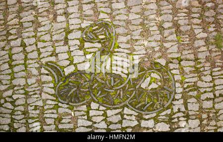Snake motif in block paving with moss growing between block, Suzhou, China - Stock Photo