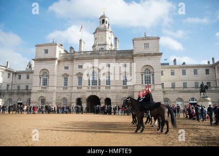 London, UK. 03rd Feb, 2017. Changing The Queen's Life Guard at Horse Guards Parade. The Queen's Life Guard is normally - Stock Photo