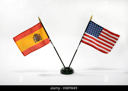 Stamford, Connecticut.  27th January, 2017.  Spanish and US dekstop flags. - Stock Photo