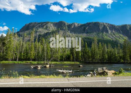 Madison Drive, Yellowstone National Park, Wyoming, USA - Stock Photo