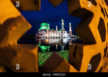 Likas City Mosque, Kota Kinabalu, Sabah, Malaysia. - Stock Photo