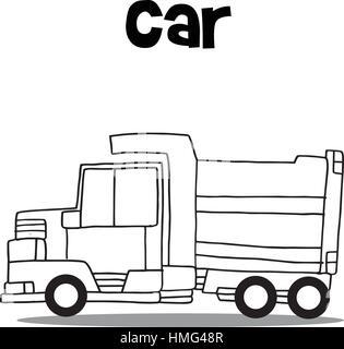 Vector illustration of truck hand draw - Stock Photo