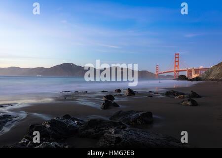 Golden Gate Bridge from Marshall's Beach, San Francisco, California - Stock Photo