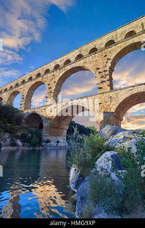 Picture of the ancient Roman Aqueduct of the Pont du Gard which crosses the River Gardon near Vers-Pon-du-Gard, - Stock Photo