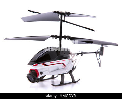 Helicopter Drone with Camera on a white background - Stock Photo