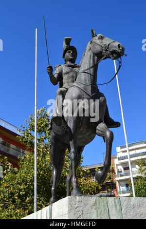 Pyrrhus of Epirus was Greek general and statesman of Hellenistic period. Sculpture in Arta, Greece, king of tribe - Stock Photo
