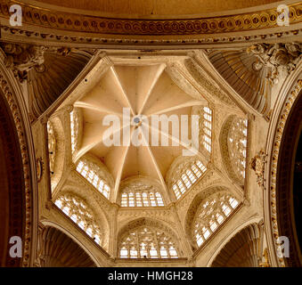 Octagonal ceiling of St.Mary Metropolitan Cathedral–Basilica of the Assumption of Our Lady of Valencia, Spain. - Stock Photo