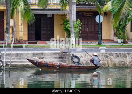 Hoai river in ancient Hoian town on January 26, 2015 in Hoian, Vietnam. Hoian is recognized as a World Heritage - Stock Photo