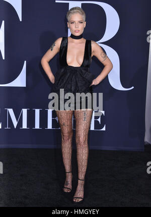 Los Angeles, USA. 02nd Feb, 2017. Halsey 092 arriving at the Fifty Shades Darker premiere at the ACE Hotel in Downtown - Stock Photo