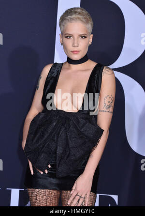 Los Angeles, USA. 02nd Feb, 2017. Halsey 093 arriving at the Fifty Shades Darker premiere at the ACE Hotel in Downtown - Stock Photo
