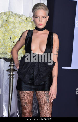 Los Angeles, USA. 02nd Feb, 2017. Halsey 094 arriving at the Fifty Shades Darker premiere at the ACE Hotel in Downtown - Stock Photo