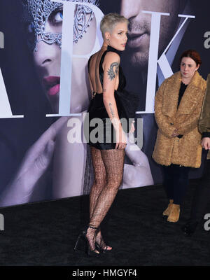 Los Angeles, USA. 02nd Feb, 2017. Halsey 095 arriving at the Fifty Shades Darker premiere at the ACE Hotel in Downtown - Stock Photo