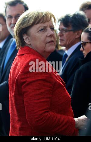 Valletta, Malta. 3rd Feb, 2017. German Chancellor Angela Merkel visits the Barrakka Gardens during the European - Stock Photo