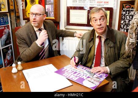 Hanley, Stoke-on-Trent, UK. 3rd Feb, 2017. UKIP Leader Paul Nuttall and UKIP former leader and figure-head Nigel - Stock Photo