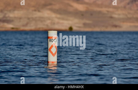 Lake Mead National Recreation Area, Nevada, USA. 12th Jan, 2016. A buoy warning boaters of submerged rocks is seen - Stock Photo