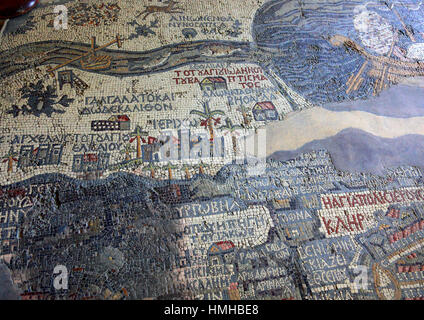 The Madaba Map, Madaba Mosaic Map, part of a floor mosaic in the early Byzantine church of Saint George at Madaba, - Stock Photo