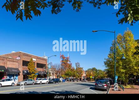 E Franklin Street in downtown Chapel Hill, North Carolina, USA - Stock Photo