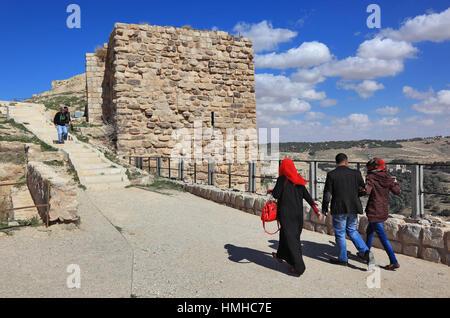 Ruins of the castle of the crusaders of the Kingdom of Jerusalem, Templars castle, Kerak, Jordan - Stock Photo