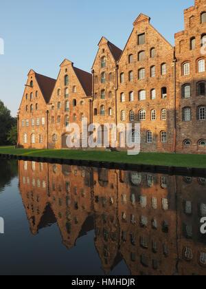 salt storages of Luebeck, Germany - Stock Photo