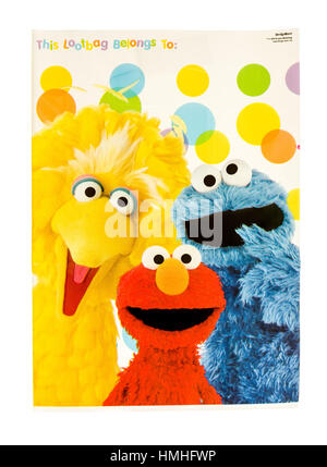 Winneconne, WI -29 January 2017:   Sesame Street loot bag on an isolated background. - Stock Photo