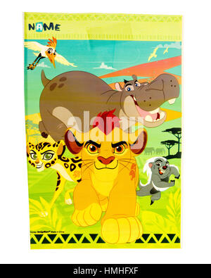 Winneconne, WI -29 January 2017:   Lion King loot bag on an isolated background. - Stock Photo
