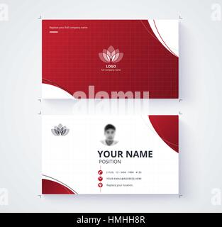 Red business card template with sample logo design. vector card. - Stock Photo