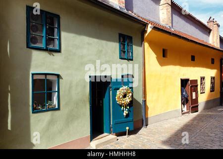 Colorful Tiny Houses of Golden Lane, Prague Castle, Prague, Czech Republic - Stock Photo