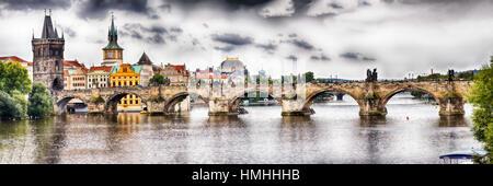 Panoramaic View of the Charles Bridge over the Vltava River, Prague, Czech Republic - Stock Photo