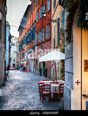 Alley in Rome During the Christmas Holidays, Via Del Orso, Rome, Lazio, Italy - Stock Photo