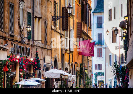 Street in Central Rome During Christmas Holiday,Via dei Pastini, Rome, Lazio - Stock Photo