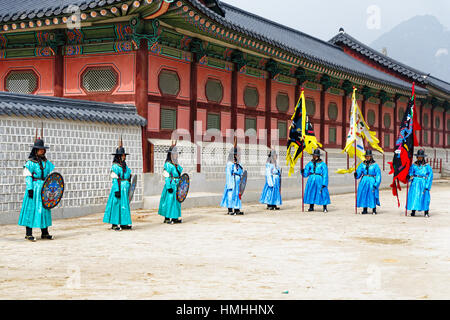Changing of the  Guards Ceremony, Gyeongbokgung Palace, Seoul, South Korea - Stock Photo