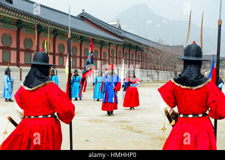 Changing of the Royal Guards Ceremony, Gyeongbokgung Palace, Seoul, South Korea - Stock Photo