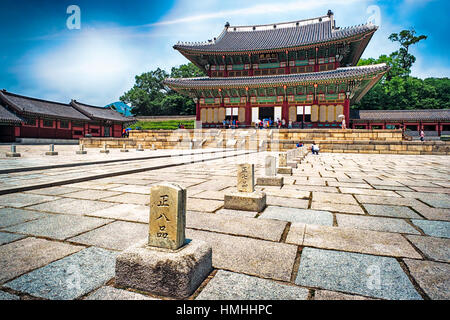 Throne Hall Building in Gyeongbokgung Palace, Seoul, South Korea - Stock Photo