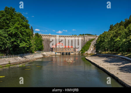 Pilchowice Dam and power plant, 1912, Bobr river, near village of Pilchowice, Lower Silesia, Poland - Stock Photo