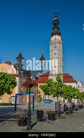 Ratusz (Town Hall) at Rynek (Market Square) in Boleslawiec, Lower Silesia, Poland - Stock Photo
