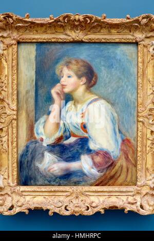 Woman with a letter, c.1890 (oil on canvas), Femme à la lettre, Pierre-Auguste Renoir, Musee de L´Orangerie, Tuileries, - Stock Photo