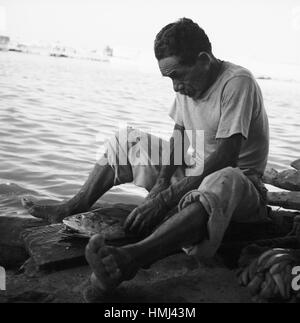 Mann am Rio Manzanares in Cumaná schneidet Fisch auf, Venezuela 1966. Man next to the Rio Manzanares in Cumaná cuts - Stock Photo