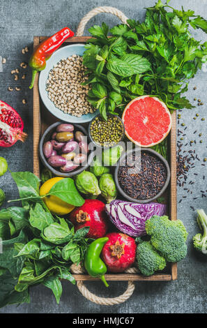 Fresh vegetables and fruits, seeds, cereals, beans, spices, superfoods, herbs - Stock Photo