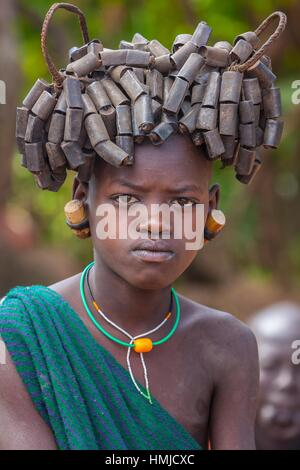 Young Bume girl along the omw river - Stock Photo