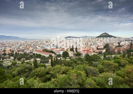 Athens cityscape from Filopappou Hill. Athens. Greece. - Stock Photo