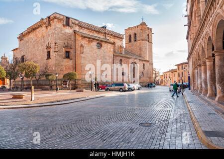 Iglesia de Santiago Apostol Church, San Clemente, Cuenca province, Castile la Mancha, Spain. Historic and Artistic - Stock Photo