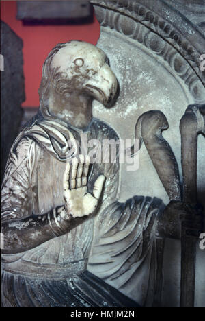 Roman Sarcophagus (c4th BC) Showing Roman with an Eagle's Head from the Ancient Roman Town of Hierapytna, now Ierapetra, - Stock Photo