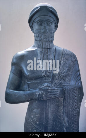 Basalt Statue of Puzur-Ishtar (c2050-2025BC), Shakkanakku, Military Governor or Prince of Mari, Babylon, Mesopotamia. - Stock Photo