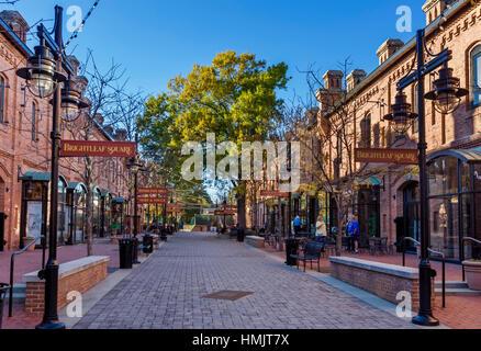 Stores and restaurants at Brightleaf Square, Durham, North Carolina, USA - Stock Photo