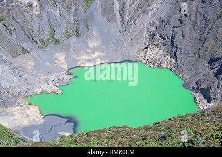 Caldera with green crater lake, Irazu volcano, Irazu volcano National Park, Cartago Province, Costa Rica