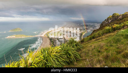 Panoramic view of Mount Maunganui and Tauranga Harbour, view from Mount Maunganui, Bay of Plenty Region, North Island - Stock Photo